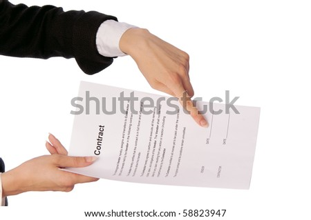 The managing director specifies in places for date of signing of a contract - stock photo