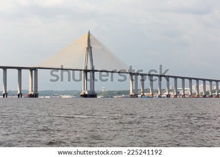 The Manaus Iranduba Bridge (called Ponte Rio Negro in Brazil) is a bridge over the Rio Negro with 3595 meters of length that links the cities of Manaus and Iranduba. It was opened on Oct 24, 2011  - stock photo
