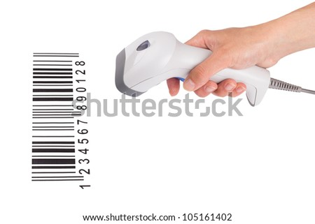 The manual scanner of bar code in a female hand with the bar-code isolated on a white background - stock photo