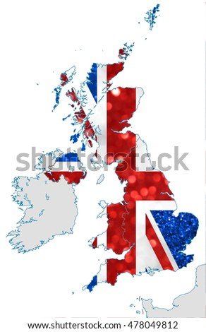 The map and national flag of the United Kingdom of Great Britain and Northern Ireland, commonly known as the Union Jack, made of bright and abstract blurred backgrounds with shimmering glitter