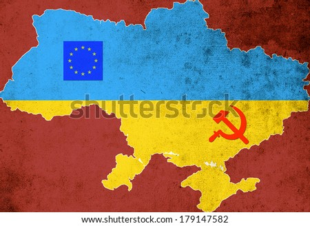The map and the flag of Ukraine on a red background - stock photo