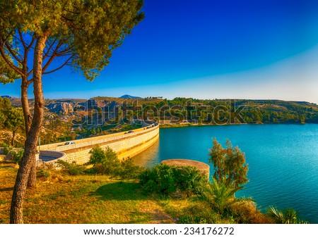 the Marathonas dam at Marathonas lake near Athens in Greece. HDR processed - stock photo