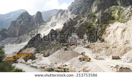 The Marble Quarries. Apuan Alps, Italy - stock photo