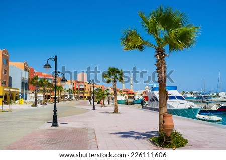 The Marina of Hurghada is the best choice for leisure walks along the harbor, Egypt. - stock photo
