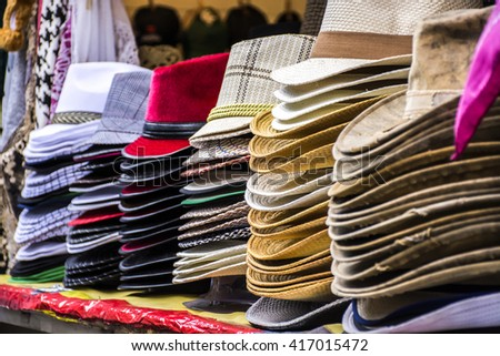 The market hat sales with a large selection.