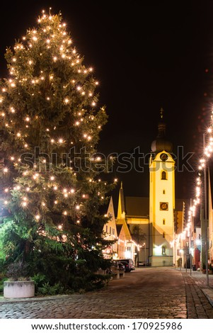 The marketplace of the bavarian city Schwandorf at christmas time - stock photo
