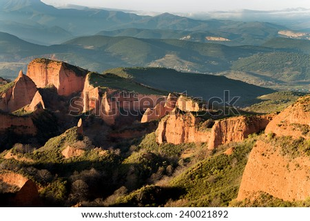The Marrows goldfields where the metal extracted the Romans 2000 years ago, El Bierzo, Leon Spain. This place is declared WORLD HERITAGE. Sunset. - stock photo