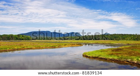 The Marshall Brook winds its way into the Bass Harbor Marsh in Acadia National Park.  In the distance are Bernard and Mansell Mountains. - stock photo