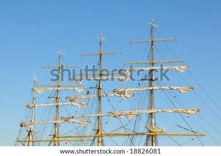 the masts of a sailing ship - stock photo
