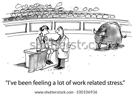"""The matador is in a very high stress job situation and says to his doctor, """"I've been feeling a lot of work related stress"""". - stock photo"""