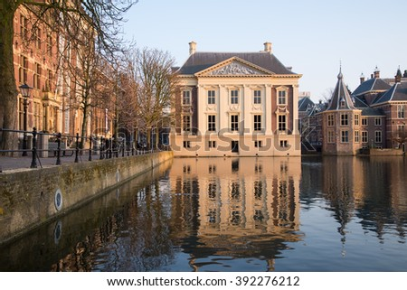 The 'Mauritshuis' and the historic houses of the parliament in the Hague, Netherlands