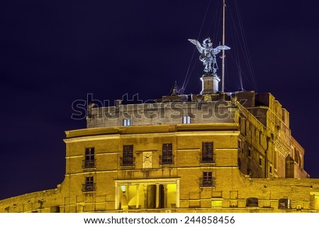 The Mausoleum of Hadrian, usually known as Castel Sant'Angelo (English: Castle of the Holy Angel), is a towering cylindrical building in Parco Adriano, Rome, Italy. Evening - stock photo