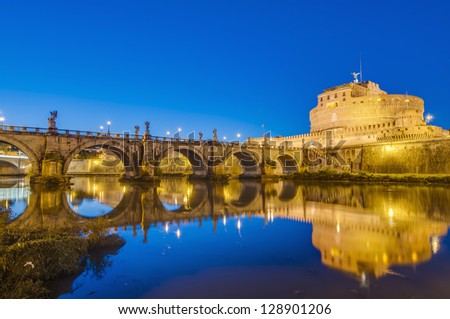 The Mausoleum of Hadrian, usually known as the Castle of the Holy Angel (Castel Sant Angelo), a towering cylindrical building in Parco Adriano, Rome, Italy - stock photo