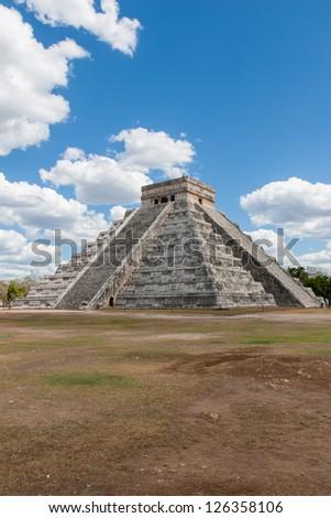 The Mayan pyramid in Chichen Itza,Mexico. - stock photo