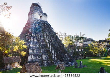 The Mayan Ruins in Tikal Guatemala - stock photo
