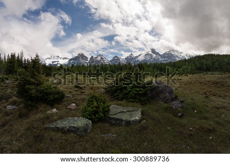 The meadow of Ten Peaks in Banff National Park, Alberta - stock photo