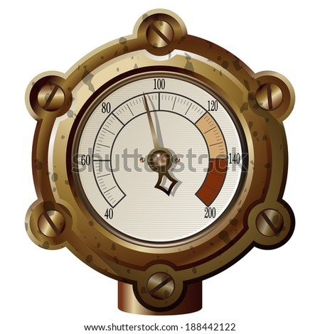 the measuring device in the steampunk style. - stock photo