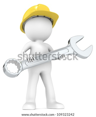 The Mechanic. 3D little human character with hardhat and wrench. People series.