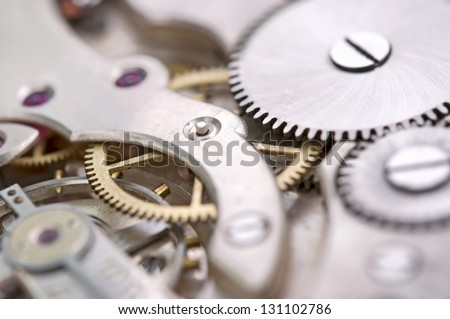 The mechanism of an old watch - stock photo