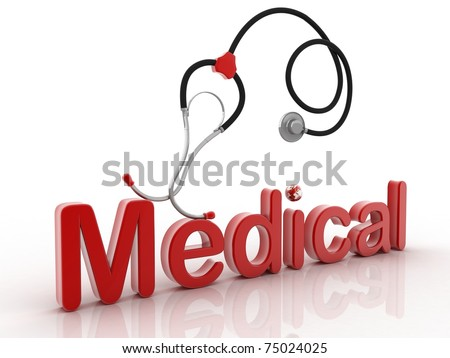 The medical stetoskop on a white background - stock photo
