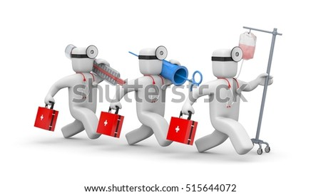 The medical team hurries to help. 3d illustration