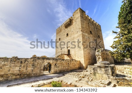 The medieval castle of Kolossi. It is situated in the south of Cyprus, in Limassol. The castle dates back to the crusades and it constitutes a landmark of the area. - stock photo