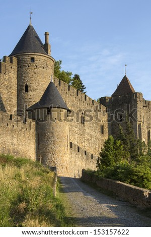 The medieval fortress and walled city of Carcassonne in southwest France. Founded by the Visigoths in the 5th century, it was restored in 1853 and is now a UNESCO World Heritage Site. - stock photo