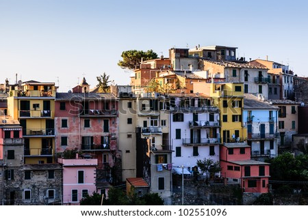The Medieval Village of Corniglia at Morning, Cinque Terre, Italy - stock photo