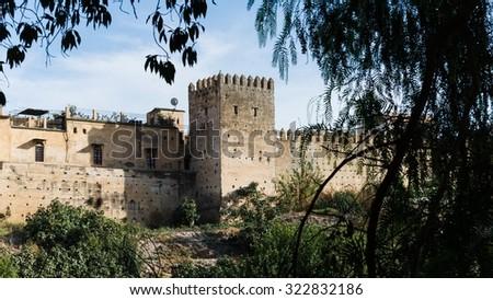 the medina wall of fes - stock photo