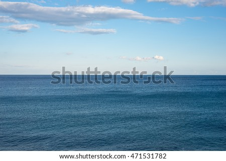 The mediterranean Sea at the village Paleochora in the south west of Crete. View to the Libyan Sea. At the horizon the island gavdos. The southernmost point of Europe