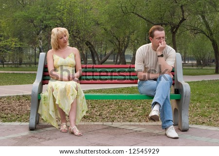 The men and the women. Difficult mutual relations.  The conflict or the beginning of relations? - stock photo