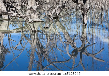 The Menindee Lakes chain of shallow  freshwater lakes connected to the Darling River to form a storage system. Far west region of New South Wales, Australia, near the town of Menindee. - stock photo