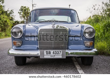 The Mercedes-Benz 200 (W110) parking in the road on July, 27, 2016 Chonburi,Thailand