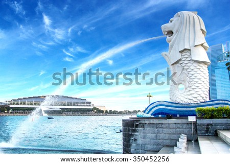 The Merlion fountain in Singapore HDR photo stlye - stock photo
