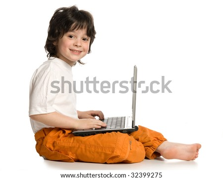 The merry  boy with laptop on white background - stock photo