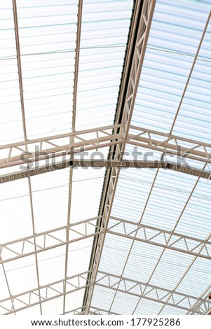 the metal and roof inside - stock photo