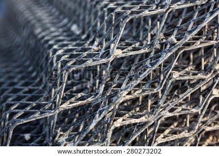 The metal mesh. Construction material. Close up. - stock photo