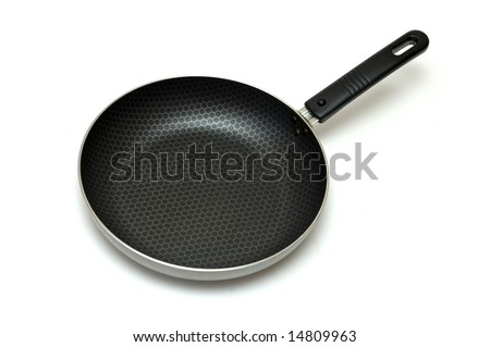 the metal pan over white - stock photo