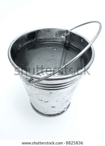 The metallic bucket full of water