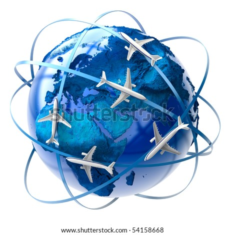 The metaphor of international air travel around the globe - stock photo