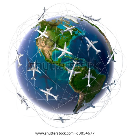 The metaphor of international air travel around the world, travel to anywhere on the planet Earth and the workload of air traffic - stock photo
