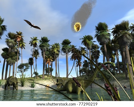 The meteor that made the dinosaur extinct - stock photo