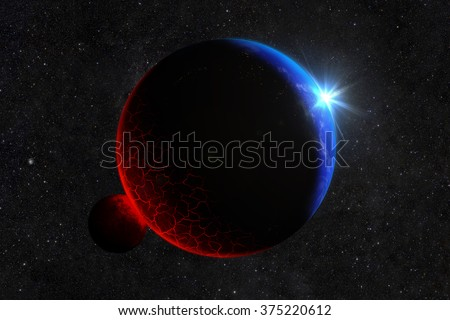 The meteorite hit the planet. Burning lava and cracks. Elements of this image furnished by NASA - stock photo