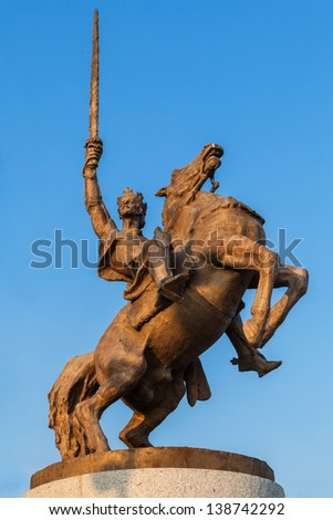 The 7.8 metres tall Bronze statue of King Svatopluk, the greatest king of the Great Moravian Empire, astride his horse in front of Bratislava Castle. The statue was designed by Jan Kulich. - stock photo