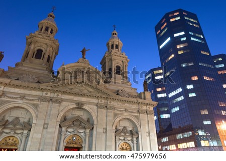 The Metropolitan Cathedral in Santiago de Chile at night