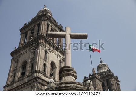 The metropolitan cathedral of Mexico DF in Mexico - stock photo