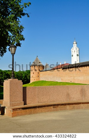 The Metropolitan Tower and Clock Tower of Novgorod Kremlin, Veliky Novgorod, Russia - architectural landscape