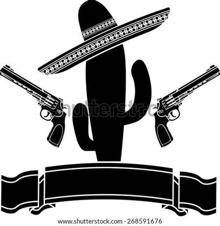 the mexican cactus and two pistols. raster variant - stock photo