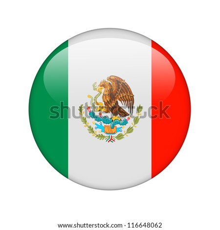 The Mexican flag in the form of a glossy icon. - stock photo