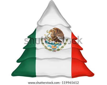 The Mexican flag painted on  Christmas xmas tree icon